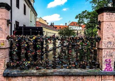 Chertovka and Bridge with love padlock